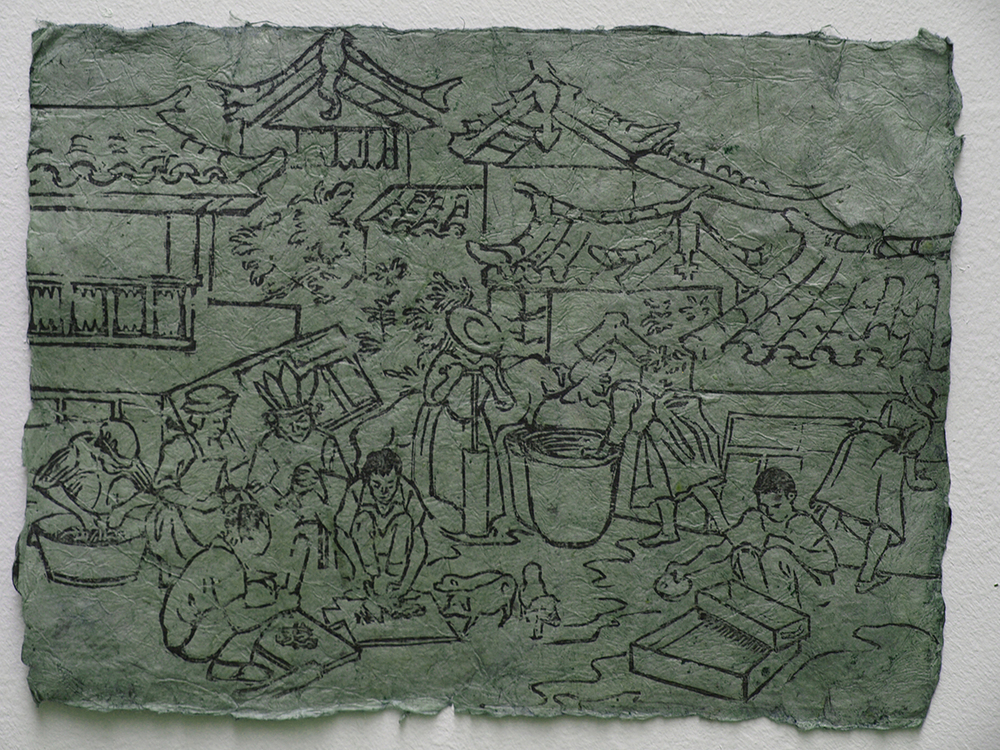 Woodcut showing how to Make Dongba Paper, printed on Dongba paper, dyed with indigo grown at Little Donkey Farm, 2011, 20 x 27 cm