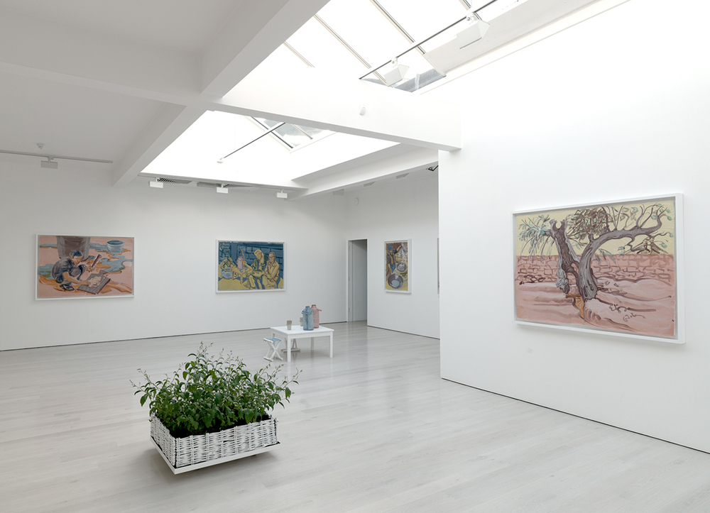 Installation shot of Journey to Wumu exhibition at Annely Juda Fine Art, 2012, with Chinese Indigo plants grown from seed gathered at Little Donkey Farm the preceding season.