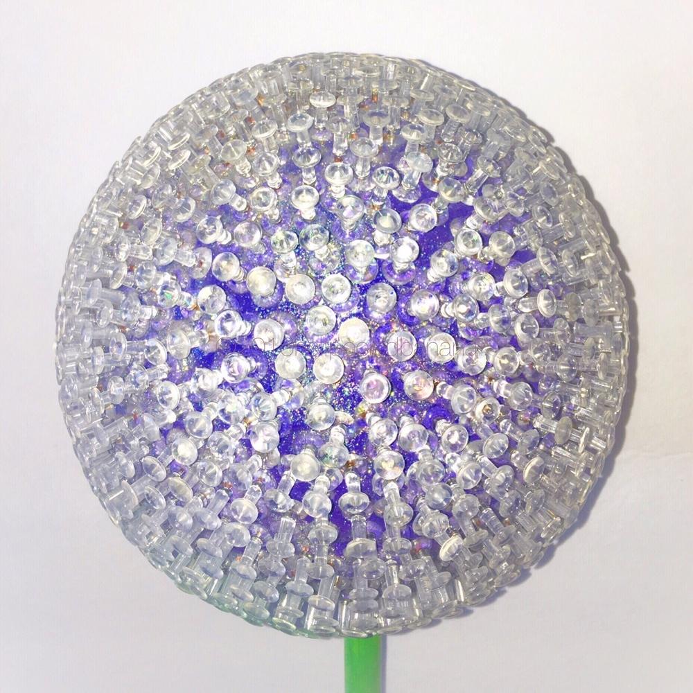 "garden art pins style purple flower 7' diameter big girl flower on a 36"" stem"