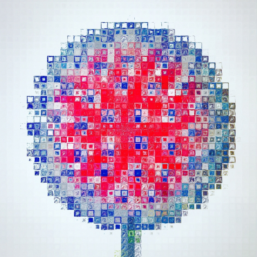 it just looks cool! squared print of a pink & blue pins style garden art flower