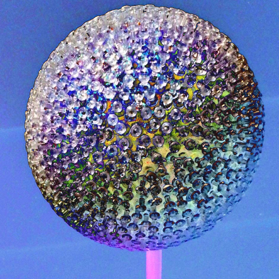 "it's like a disco ball, but it's garden art made with push pins! big girl 7"" diameter purple"