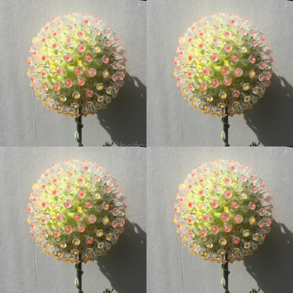"""garden art flower 5"""" pin style in yellow with pik dots"""