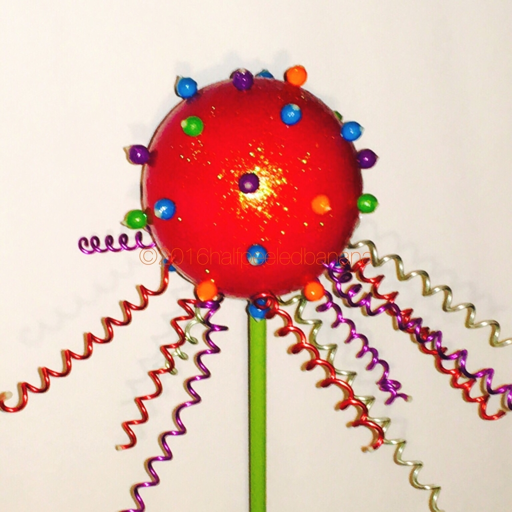 "red garden art flower 8"" nubbed space style on a 24"" stem"