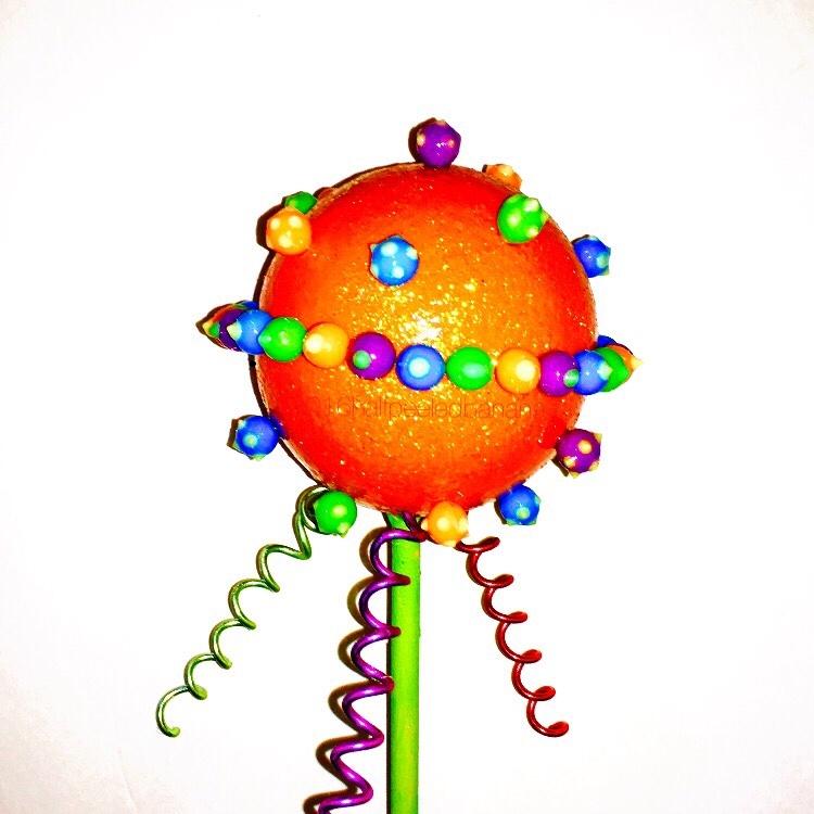 "not your ordinary garden art flower space style 6"" orange flower"