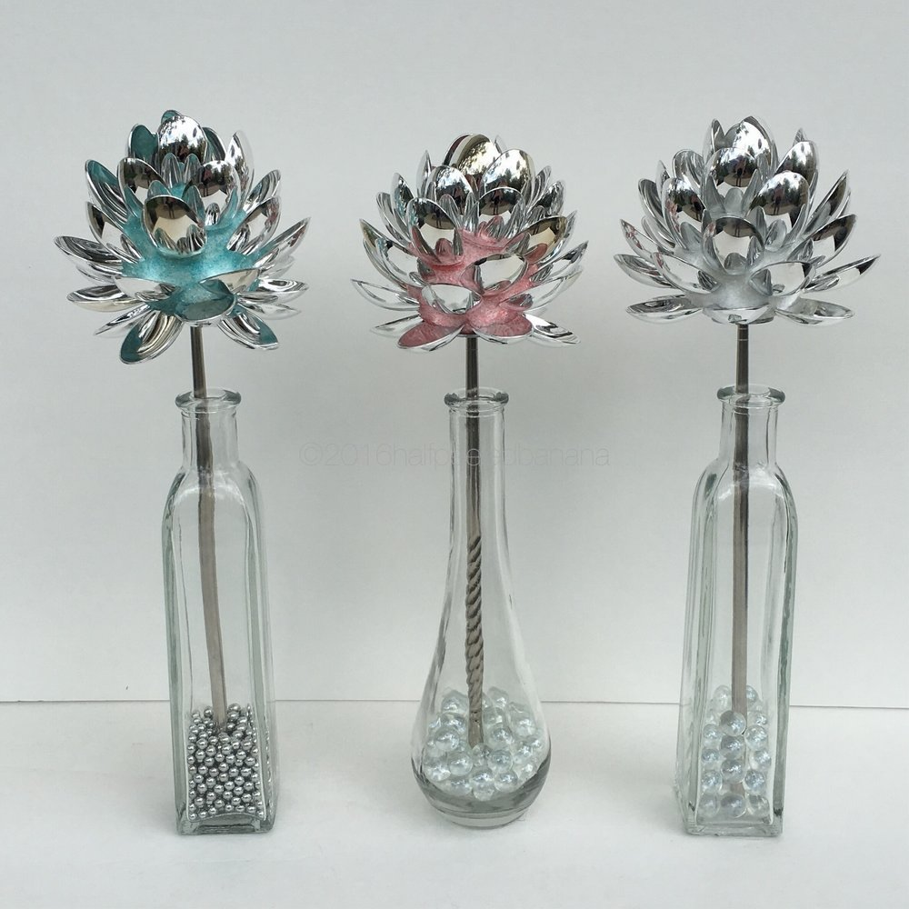 "4"" silver spoon tabletop flowers in light blue, pink, and silver"
