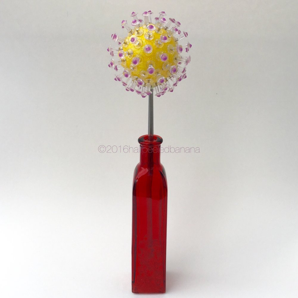 """modern elegance - 3"""" tabletop flower in yellow with purple dots"""