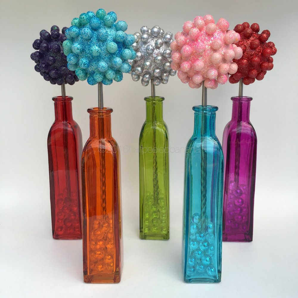 "bright tabletop flowers 3"" nubs style in dark purple, light blue,, silver, light pink and red"