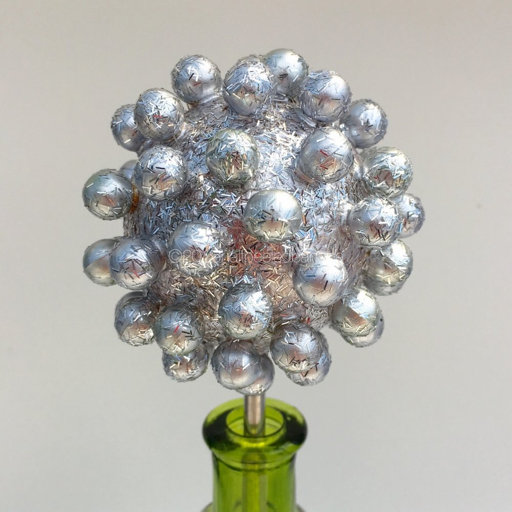 """tabletop flower bright silver 3"""" nubs style"""