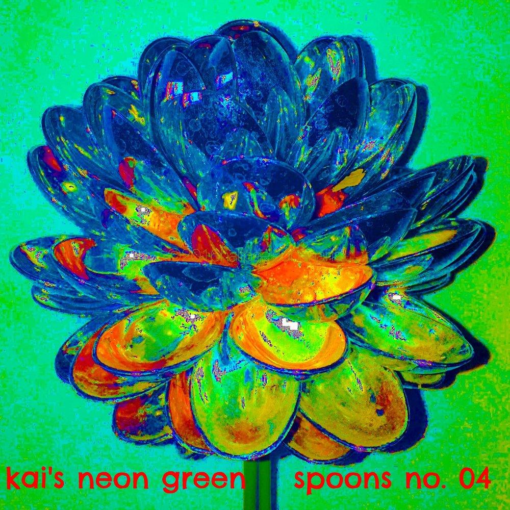 kai's neon green - spoons print no. 04