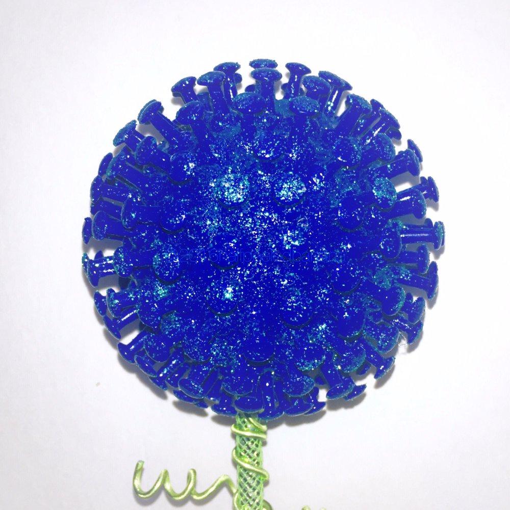 "my boy blue - 4"" garden art blue flower pins style"