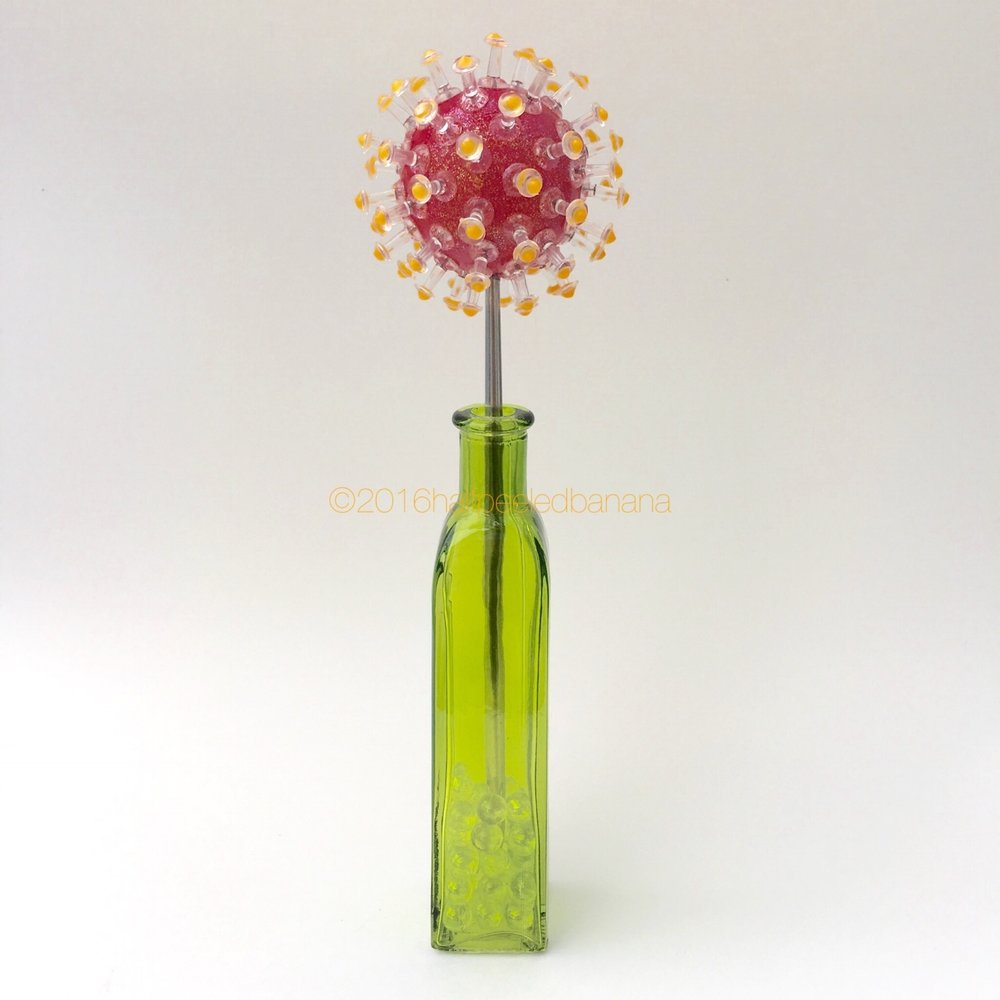 """bright modern holiday or everyday decor. tabletop 3"""" pins style red flower with orange dots"""