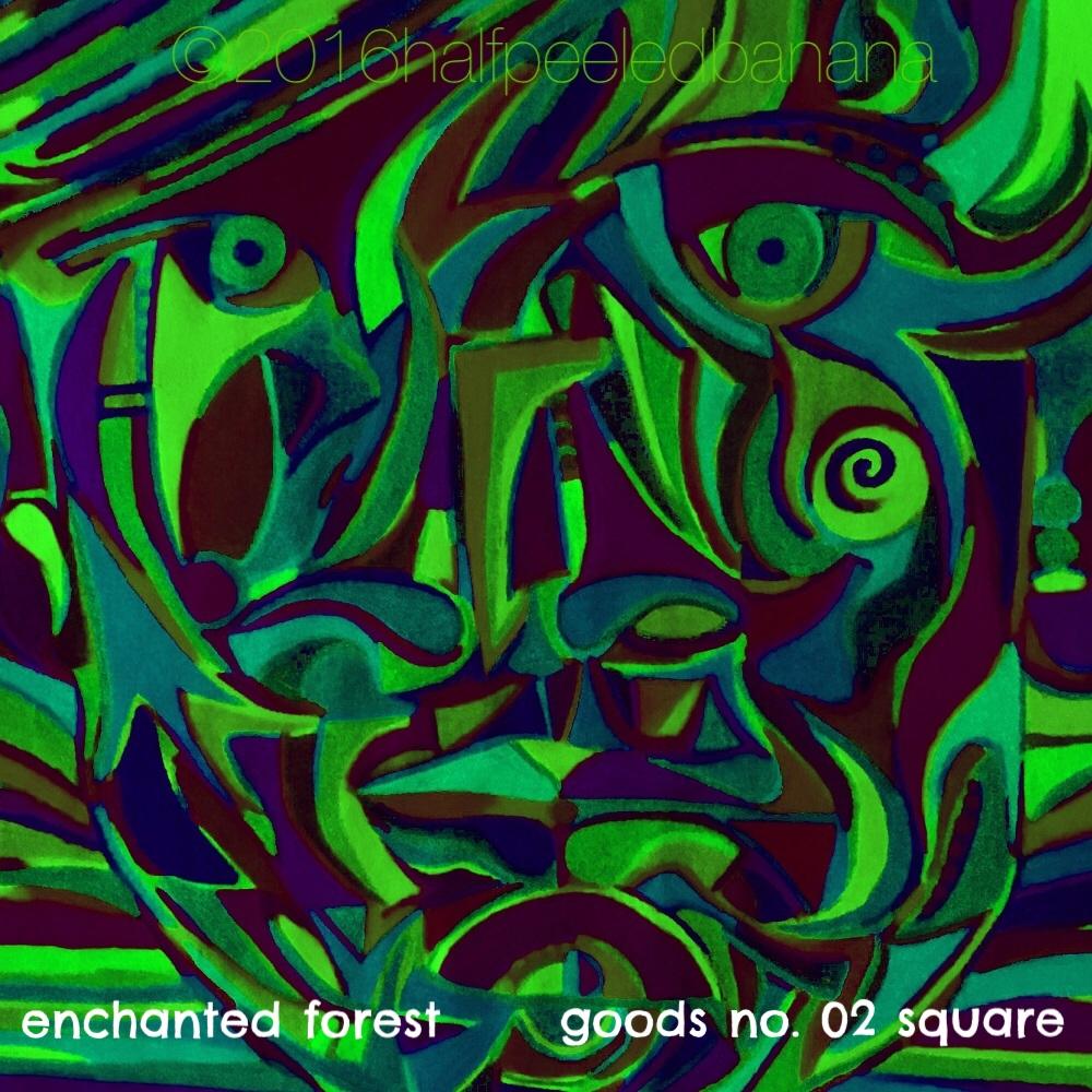 enchanted forest - goods no. 02 square - art print - halfpeeledbanana.com