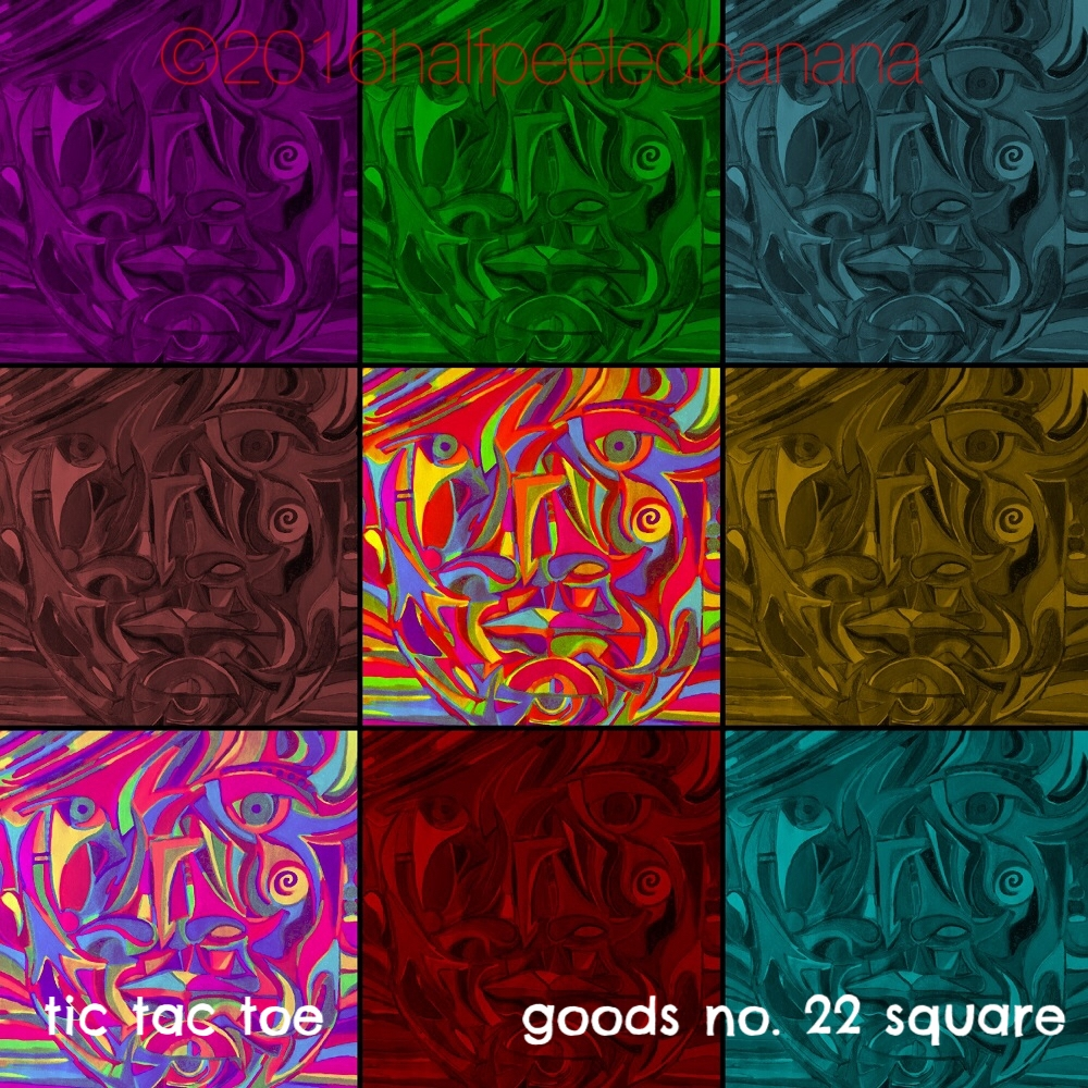 tic tac toe - goods no. 22 square - art print - halfpeeledbanana.com
