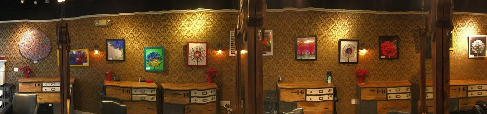 """wiggly panorama! """"love"""" the round painting & some of the 16x20 prints @ Let Em Have It Salon. January-February 2017. Happy New Year!! Click on pic to see all my prints!"""