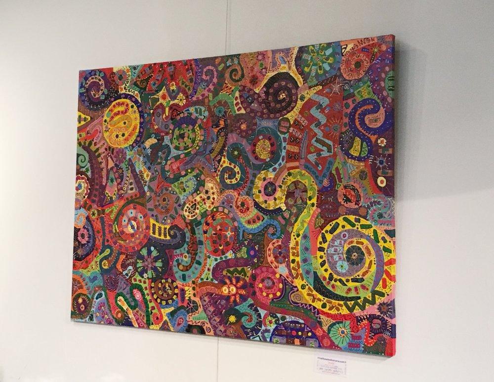 """peace"" painting.acrylic/multimedia on canvas by Ann Vanatta Gutierrez  on the far wall @ Let Em Have It Salon through February!!"