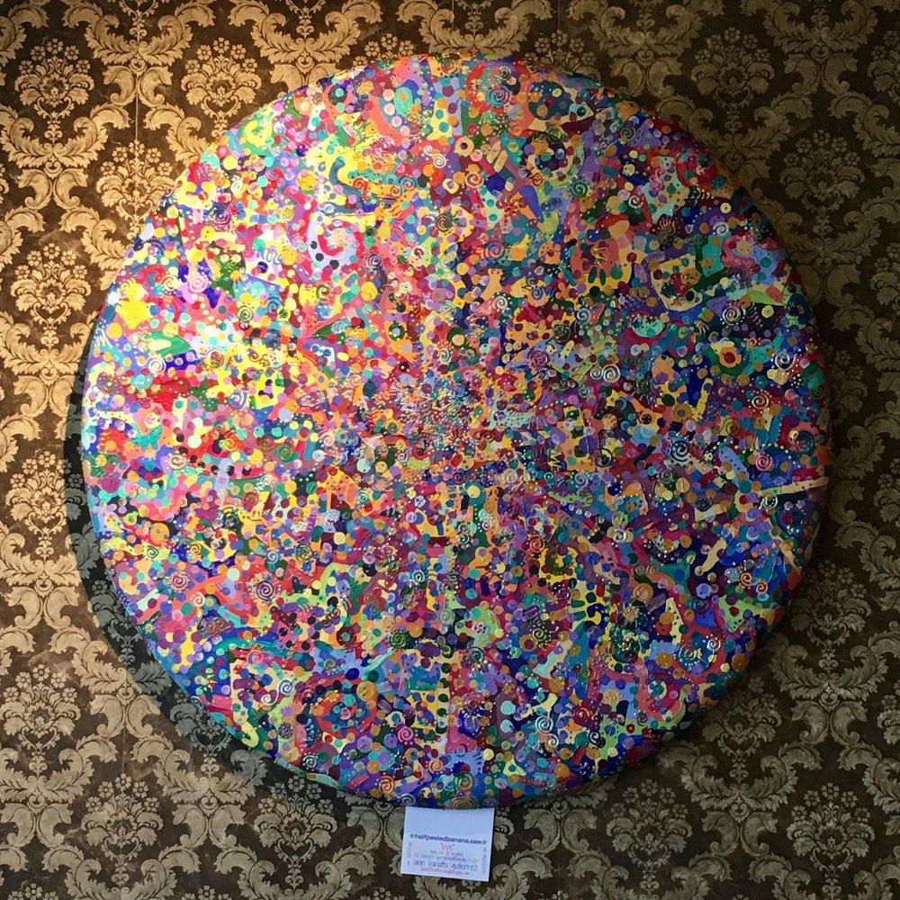"""love"" by Ann Vanatta Gutierrez 36 inch circular multimedia on canvas"