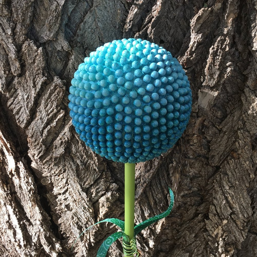 stunning 7 inch by 42 inch garden art in turquoise