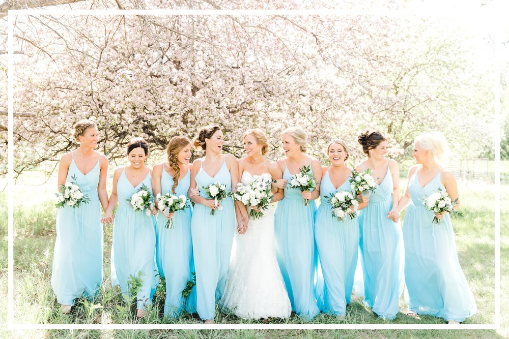 Rachel Graham Photography Powder Blue White Green Natural Wedding Orchard Blossom Bridesmaid Bridal Party