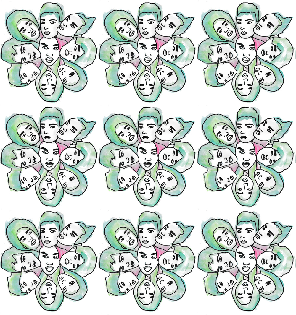 Collage green pattern experiment 1