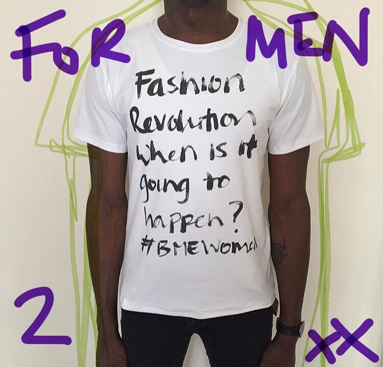 Model wears a medium 'Statement' t-shirt.