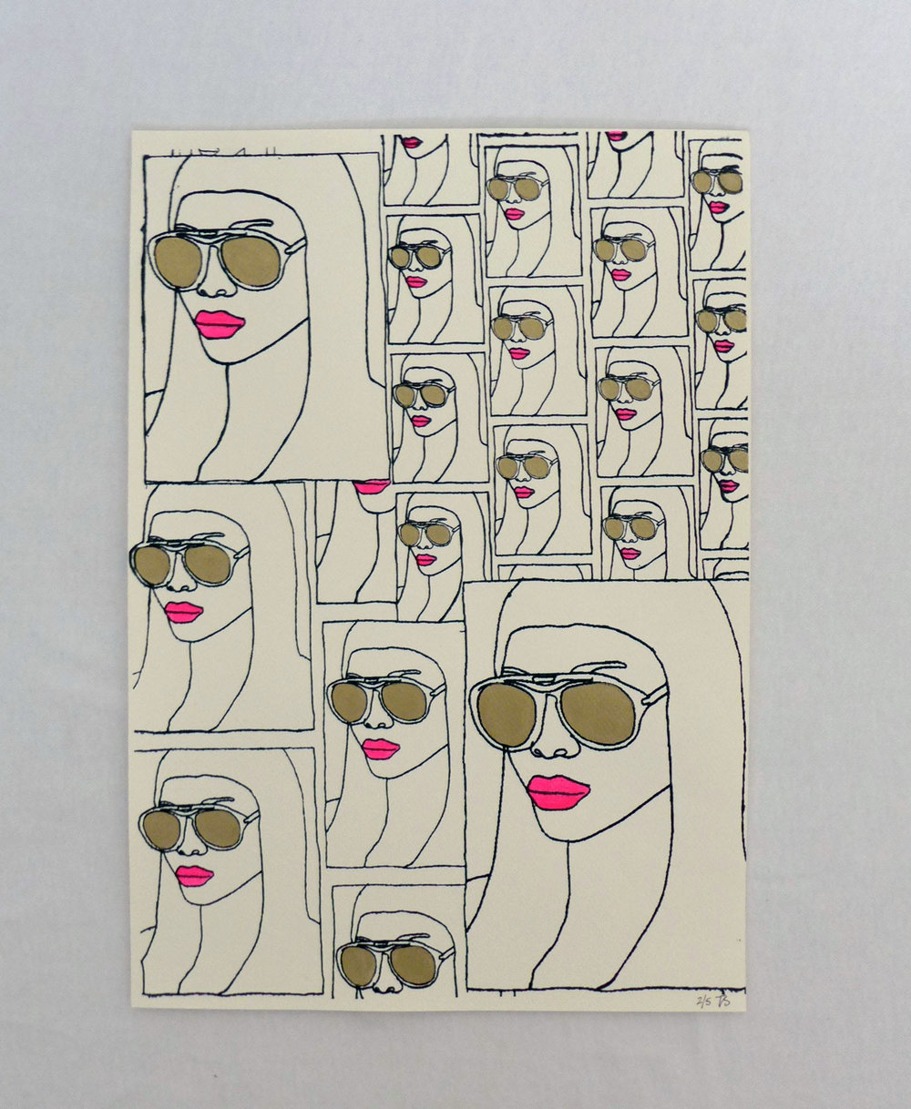 Pink Lipped Girl with Glasses Screen Print - £25