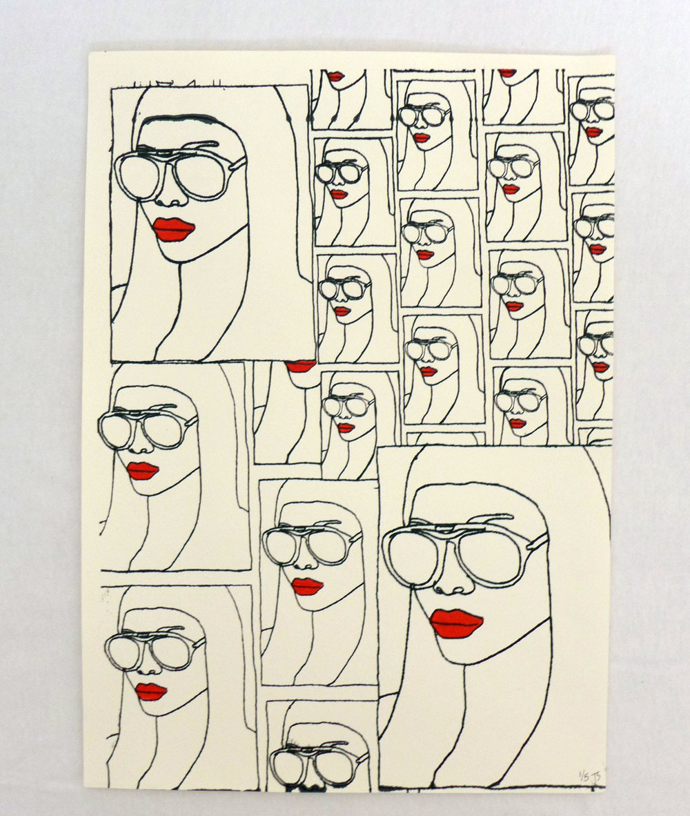 Red Lipped Girl with Glasses Screen Print  - £20