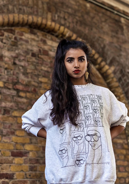 Girl with Glasses Sweatshirt -