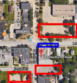 Here's a map of parking the day of. Blue indicates ADA accessible entrance and parking. There is also ADA accessible parking on the South side of the building.