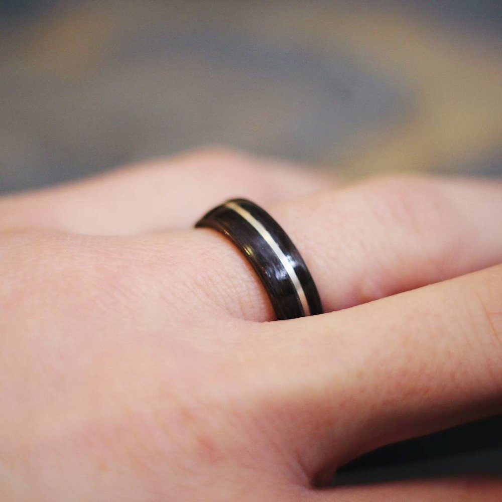 White Gold, Walnut, and Koa Ring — FREE SHIPPING CODE FOR ORDERS $75 ...