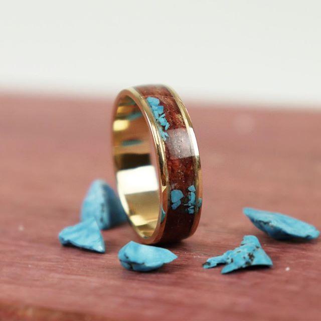 14k gold, purple heart wood, and crushed turquoise. 💜💜💜 . . . #woodring #woodenring #wedding #weddingband #engaged #engagement #weddingday #groom #weddingring #love #handmade #weddingday #engagement #engagementring #ring #mensstyle #menswear #mensfashion #silver #walnut #gold #goldring #14k