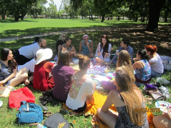 Volunteers and attendees of the workshop at the park talking with Teal Swan. I'm the one with the purple shirt. It was a lot of fun.