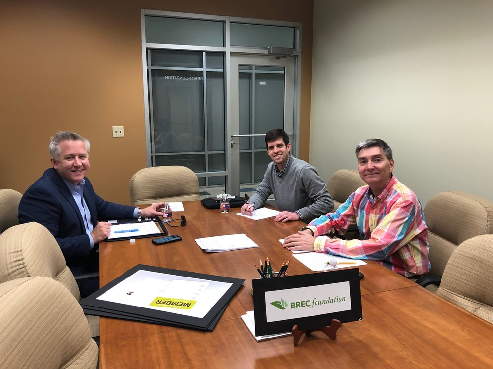 """Members of the BREC Foundation Public Relations Committee met on January 31, 2018 to discuss plans to raise the organization's profile. Pictured from the left clockwise are Steven Toups, Brian Rodriguez and Carl Stages."""