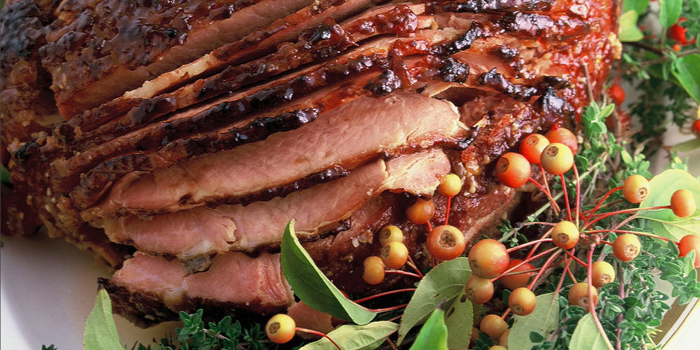 Baked Virginia Ham . I serve it with the  Christmas Salad from Jr.League of Seattle Cookbook , rolls and  Cheesy Hash Brown Casserole