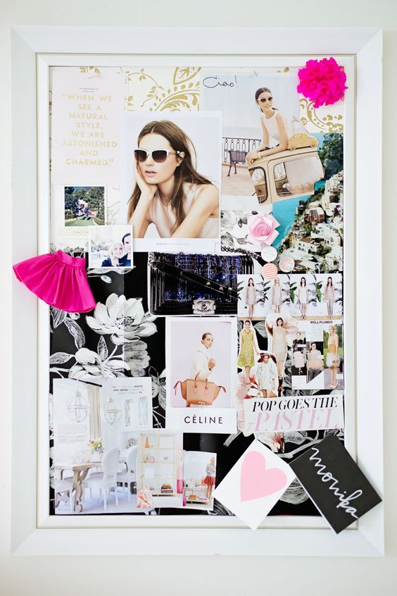 Love this vision board all framed. This is how I am doing mine this year! Get as fancy as you want. I may even paint my frame gold! I know shocker!