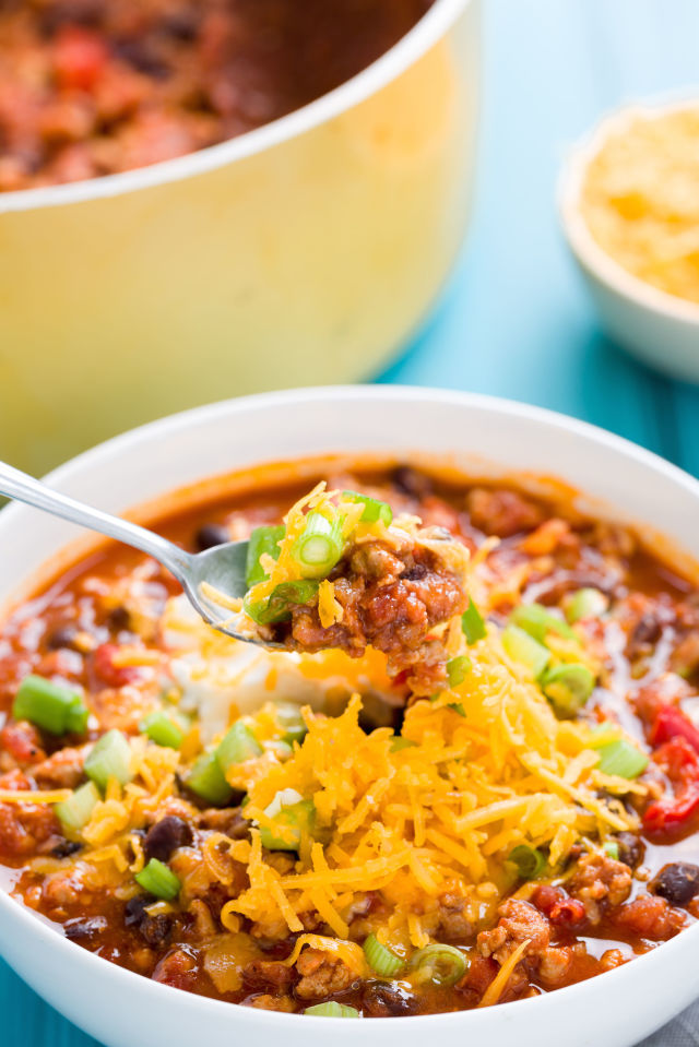 Spicy Turkey Chili  - make a double batch and freeze one!