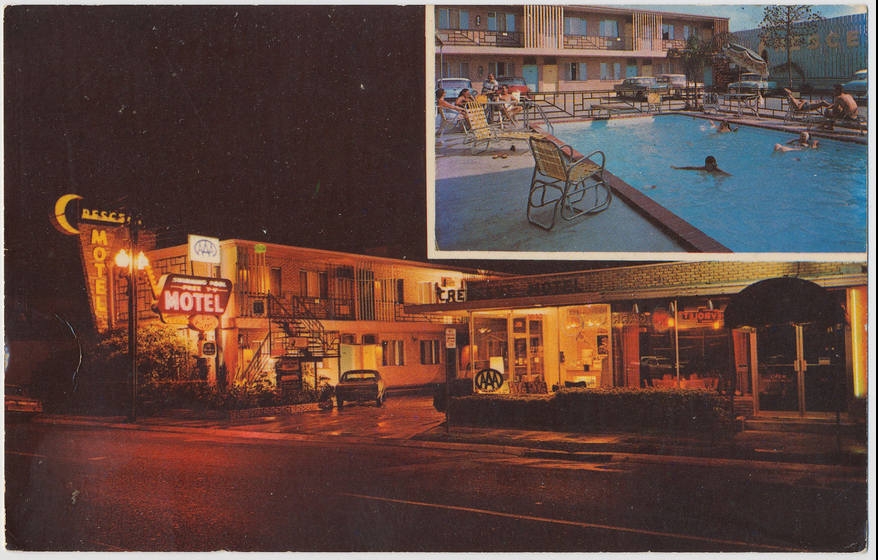 Rose Inn (Crescent Motel) historic postcard night time (1).png
