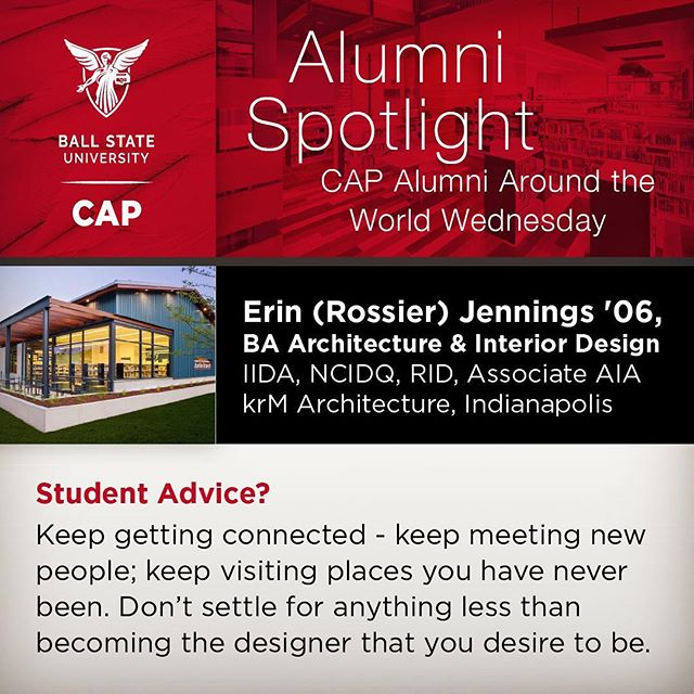 Erin (Rossier) Jennings '06 BA Architecture & Interior Design, Ball State 2006  Favorite Project? The Markle Branch of Huntington City-Township Library is a project that our team is really proud and honored to have been a part of. This is a new(er) branch library just south of Fort Wayne, IN.We used conventional, local building materials in a modern design approach to balance the scale of the community with a progressive library building. The Library has achieved an AIA Indiana and AIA IndianapolisDesign Award for New Construction 2017 and an IIDA Indiana IDEA Design Award in 2017.  Advice for students? Keep getting connected - keep meeting new people; keep visiting places you have never been.Don't settle for anything less than becoming the designer that you desire to be. Be humble, and stay a learner.Our world needs you, so be ready to always bring your best.  Memorable professor moment?  There are several that come to mind, but Sonny Palmer whole-heartedly believed in architectural academia.He believed in rich architectural education, and he certainly believed in mentoring young, aspiring architects.Had he not developed and supported the summer accelerated program at CAP, I probably wouldn't be practicing architecture and design today.  CAP Travel? We had so many opportunities to travel in both undergrad and grad school, and those experiences were so valuable.They shaped my perspective on design, my contribution to society, and my values as a practicing designer.  @krmarchitecture #erinjennings #ballstatealumni #marklebranch @ballstate_architecture #bsuinteriordesign #architecture #ballstate100 #ballstatecapic #indianapolis