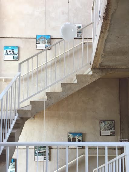 Staircase lined with information about the site / photo by Maleeha Sambur