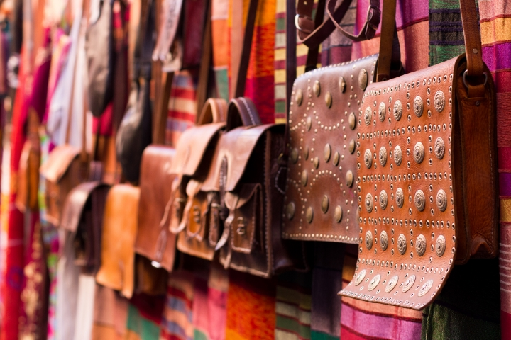 Leather goods in the souk | photo by Tawfeeq Khan