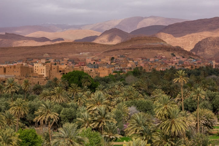 Oasis town of Tinerhir -- not a painting! | photo by Tawfeeq Khan