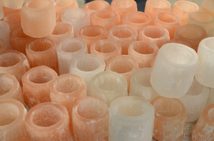 Translucent vessels for sale at the fossil shop | photo by Maleeha Sambur