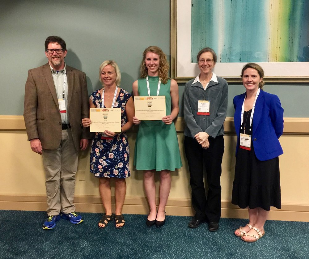 Dan, (Graduate student presentation award winners) Sara Blomberg (Lund), Sara Isbill (Tennessee), Pat Thiel (JCP), and Ashleigh Baber (JMU) at HC Focus Topic awards reception.