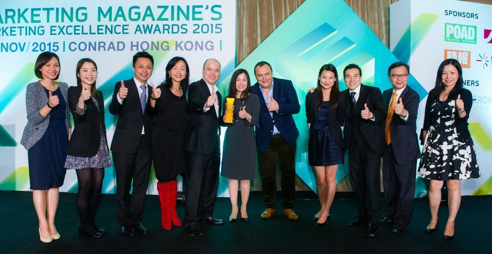 The AIA Great European Carnival Team Photo: (6th from the left: Ms Bonnie General Manager, Business Strategy and Marketing of AIA Hong Kong and Macau; 7th from the left: Mr Michael Denmark, CEO of TGEC)