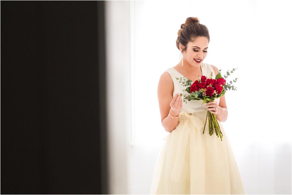 Backlit Bride Admiring Bouquet