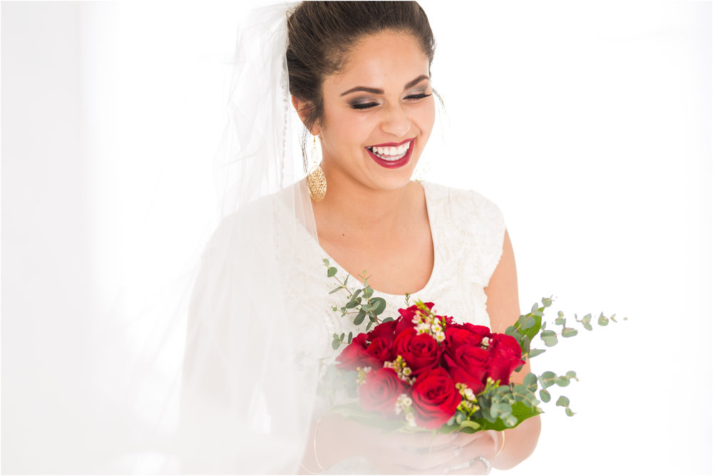 Giggling Bride in Photography Studio