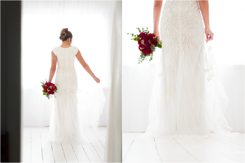 Bridal Images in Front of a Window