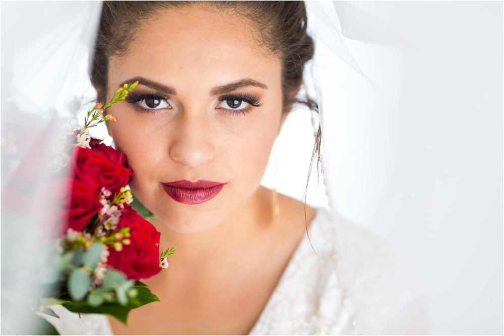 Beautiful Bride with Red Roses