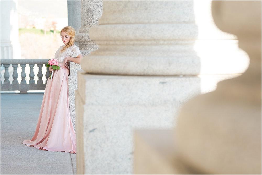 Bride Leaning on Stone Pillars