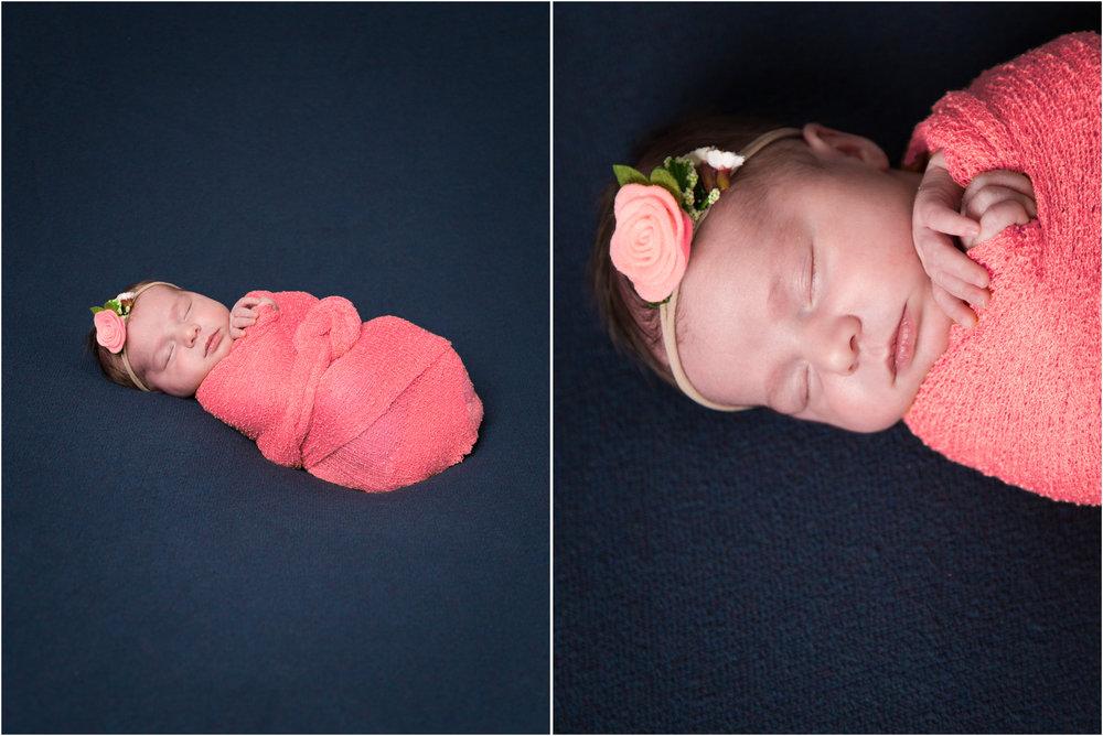 Newborn in a Coral Colored Swaddle