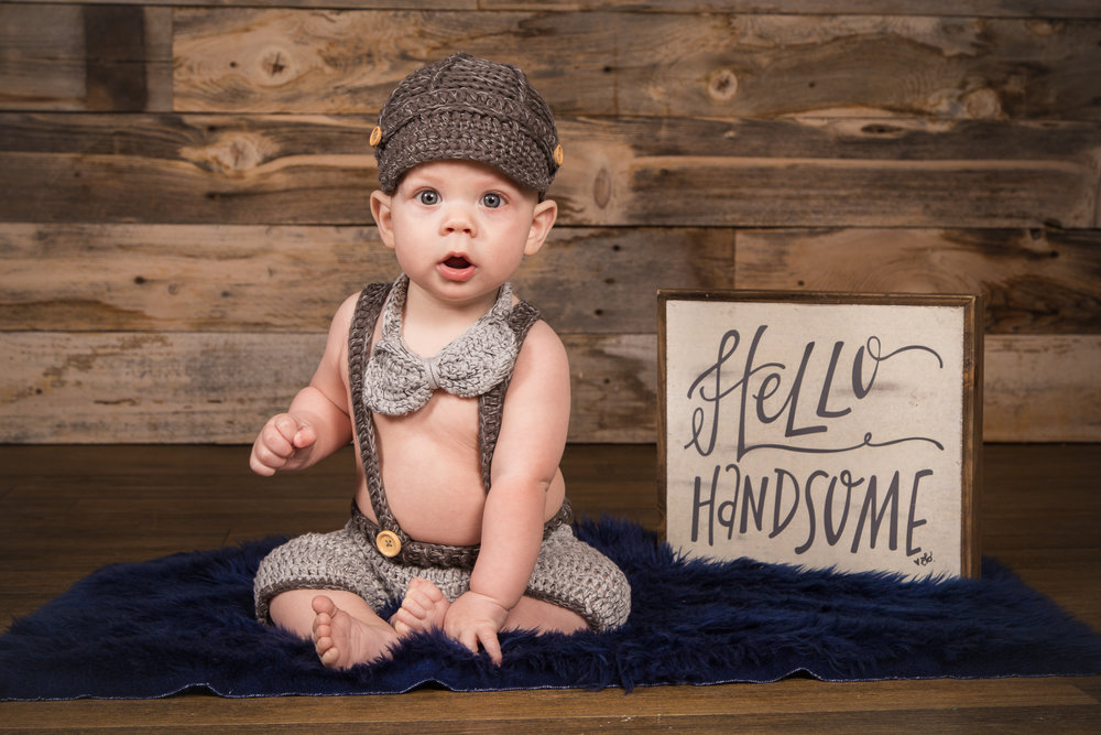 'Hello Handsome' 6 Month Old Photoshoot